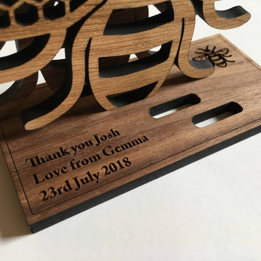 Manchester bee oak wood coaster honeycomb wings personalised gift
